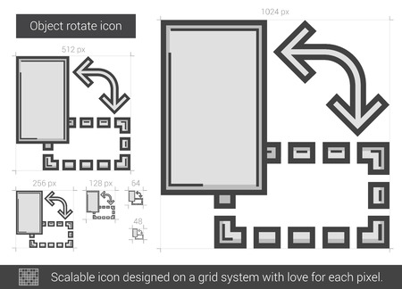 Object rotate vector line icon isolated on white background. Object rotate line icon for infographic, website or app. Scalable icon designed on a grid system.  イラスト・ベクター素材