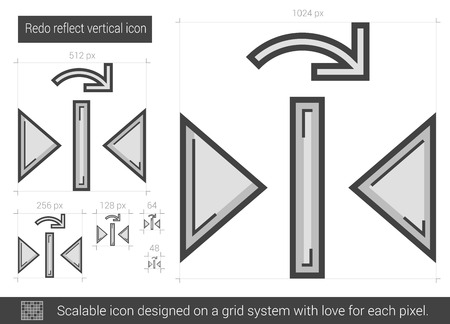reflect: Redo reflect vertical vector line icon isolated on white background. Redo reflect vertical line icon for infographic, website or app. Scalable icon designed on a grid system. Illustration