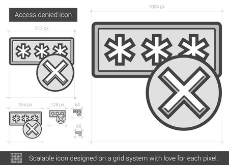 Acceso icono de la línea vector negado aislado sobre fondo blanco. Acceso denegado icono de la línea de infografía, sitio web o aplicación. icono escalable diseñada en un sistema de red. Foto de archivo - 63501654