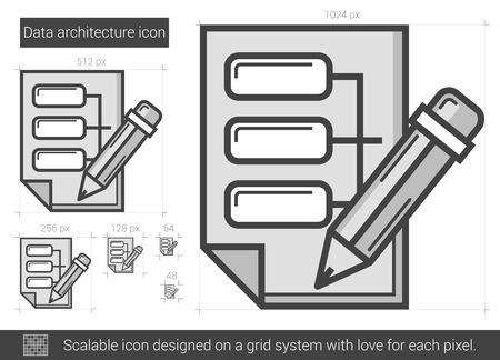 Data architecture vector line icon isolated on white background. Data architecture line icon for infographic, website or app. Scalable icon designed on a grid system. Illusztráció