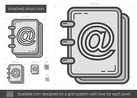 Attached photo vector line icon isolated on white background. Attached photo line icon for infographic, website or app. Scalable icon designed on a grid system. Ilustrace