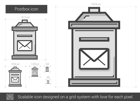 Postbox vector line icon isolated on white background. Postbox line icon for infographic, website or app. Scalable icon designed on a grid system. Ilustrace