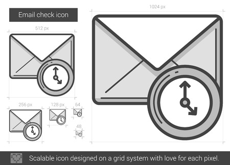 scalable: Email check vector line icon isolated on white background. Email check line icon for infographic, website or app. Scalable icon designed on a grid system.