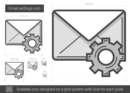 parameters: Email settings vector line icon isolated on white background. Email settings line icon for infographic, website or app. Scalable icon designed on a grid system.
