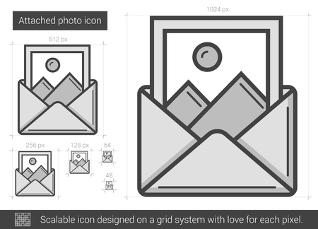 Attached photo vector line icon isolated on white background. Attached photo line icon for infographic, website or app. Scalable icon designed on a grid system. Reklamní fotografie - 63501613
