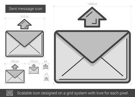 sent: Send message vector line icon isolated on white background. Sent message line icon for infographic, website or app. Scalable icon designed on a grid system.