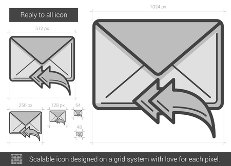 reply all: Reply to all vector line icon isolated on white background. Reply to all line icon for infographic, website or app. Scalable icon designed on a grid system.
