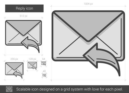 Répondre vecteur icône de la ligne isolé sur fond blanc. Répondre icône de la ligne pour infographie, site Web ou application. icon Scalable conçu sur un système de grille. Banque d'images - 63501623