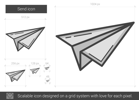 Send vector line icon isolated on white background. Send line icon for infographic, website or app. Scalable icon designed on a grid system. Ilustrace