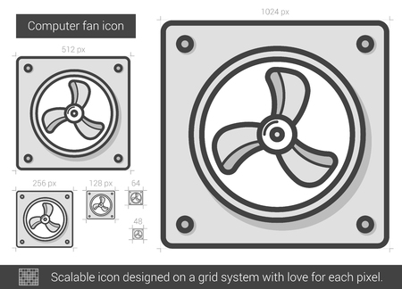 Computer fan vector line icon isolated on white background. Computer fan line icon for infographic, website or app. Scalable icon designed on a grid system. Illustration