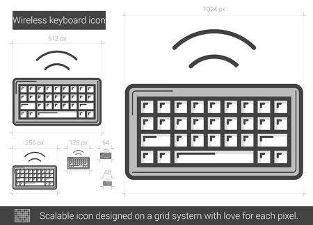 Wireless keyboard vector line icon isolated on white background. Wireless keyboard line icon for infographic, website or app. Scalable icon designed on a grid system. Illustration