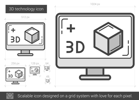 three d: Three d technology vector line icon isolated on white background. Three d technology line icon for infographic, website or app. Scalable icon designed on a grid system. Illustration