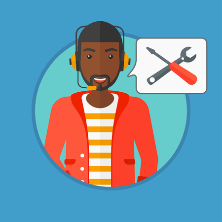 dispatcher: An african-american operator of technical support wearing headphone set. Operator and speech square with screwdriver and wrench. Vector flat design illustration in the circle isolated on background. Illustration