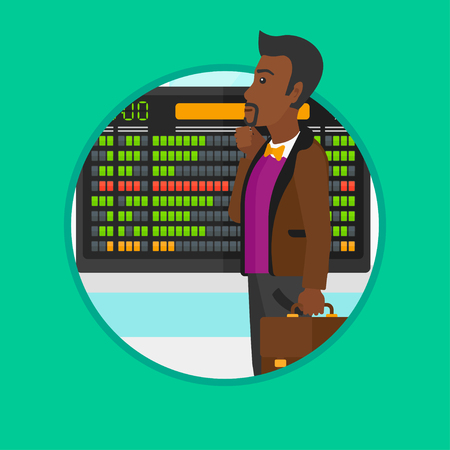 departure: African-american man looking at departure board at the airport. Passenger standing at the airport in front of the departure board. Vector flat design illustration in the circle isolated on background. Illustration