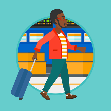 departure board: African-american man walking at the airport. Passenger with a suitcase walking on the background of schedule board at the airport. Vector flat design illustration in the circle isolated on background. Illustration