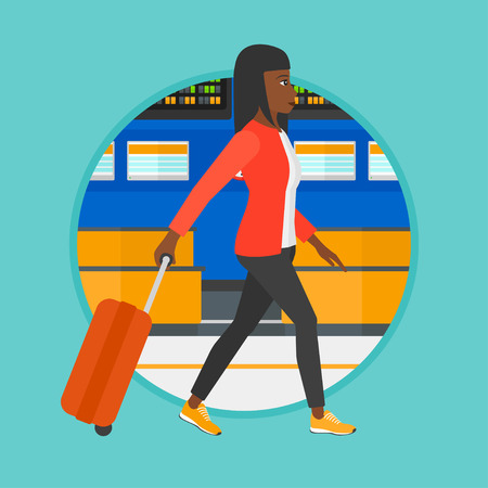 departure board: African-american woman walking at the airport. Passenger with suitcase walking on the background of schedule board at the airport. Vector flat design illustration in the circle isolated on background.