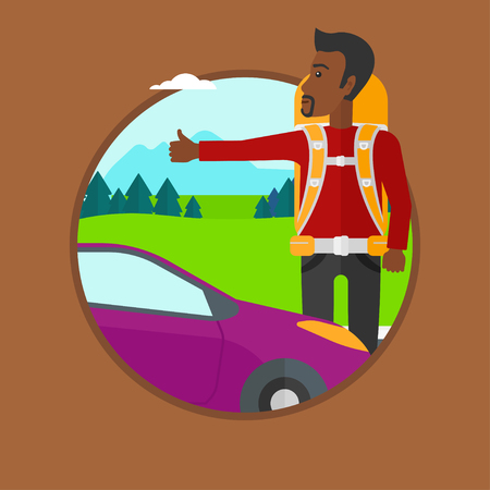 roadside: An african-american young man with backpack hitchhiking on roadside. Hitchhiking man trying to stop a car on the road. Vector flat design illustration in the circle isolated on background.