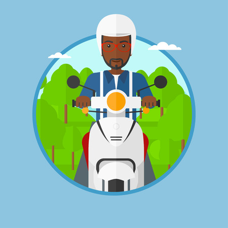 An african-american man riding a scooter on the asphalt road on the background of forest. Young man in helmet driving a scooter. Vector flat design illustration in the circle isolated on background..  イラスト・ベクター素材