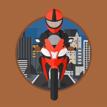 city man: An african-american man in helmet riding a motorcycle on the background of night city. Man driving a motorbike on a city road. Vector flat design illustration in the circle isolated on background.