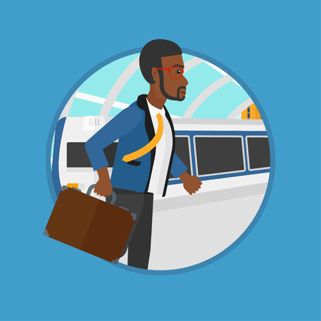 An african-american man walking on the train platform on the background of train arriving at the station. Man going out of train. Vector flat design illustration in the circle isolated on background. Illustration