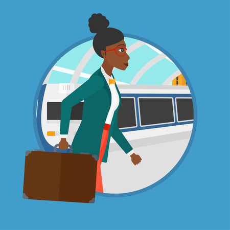 An african-american woman walking on the train platform on the background of arriving at the station. Woman going out of train. Vector flat design illustration in the circle isolated on background.