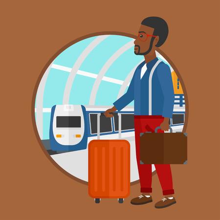 Un hombre afroamericano que se coloca en la estación de tren en el fondo del tren que llega. Hombre con maletas esperando un tren. Ilustración de diseño plano de vector en el círculo aislado sobre fondo. Ilustración de vector
