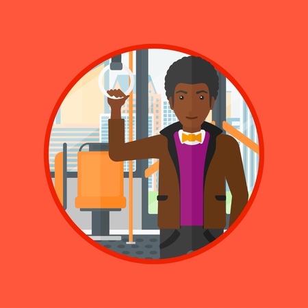 handgrip: African-american man traveling by public transport. Man standing in a public transport. Man traveling by passenger bus or subway. Vector flat design illustration in the circle isolated on background.