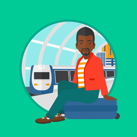 An african-american man sitting on a suitcase at the train station. Young man waiting for a train at the railway platform. Vector flat design illustration in the circle isolated on background.