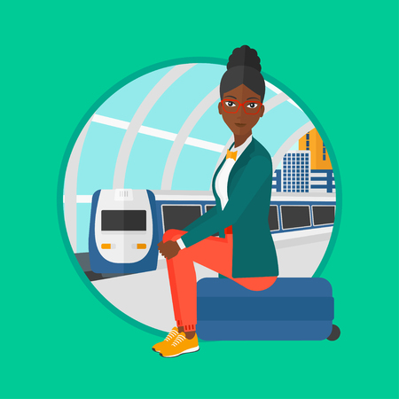 An african-american woman sitting on a suitcase at the train station. Young woman waiting for a train at the railway platform. Vector flat design illustration in the circle isolated on background. Illustration
