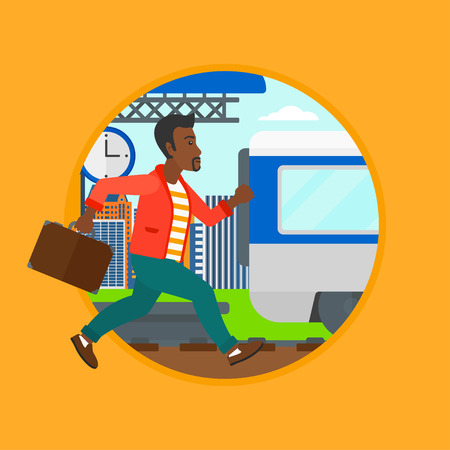An african latecomer man running along the platform to reach the train. Man came too late at train station. Man chasing train. Vector flat design illustration in the circle isolated on background. Illustration