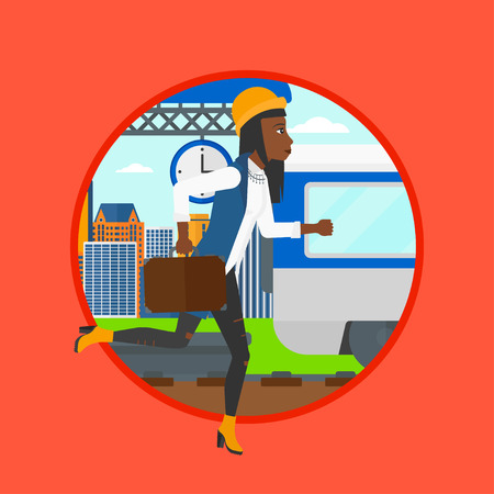 An african latecomer woman running along the platform to reach the train. Woman came too late at train station. Woman chasing train.Vector flat design illustration in the circle isolated on background Illustration