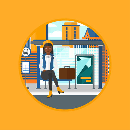 bus stop: African-american woman with briefcase waiting for a bus at the bus stop on a city background. Young woman sitting at the bus stop. Vector flat design illustration in the circle isolated on background. Illustration