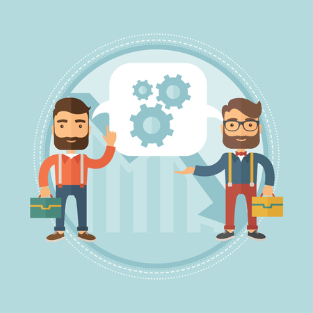 Businessmen sharing business ideas about financial recovery on the background of graph going down. Business idea, teamwork concept. Vector flat design illustration in the circle isolated on background