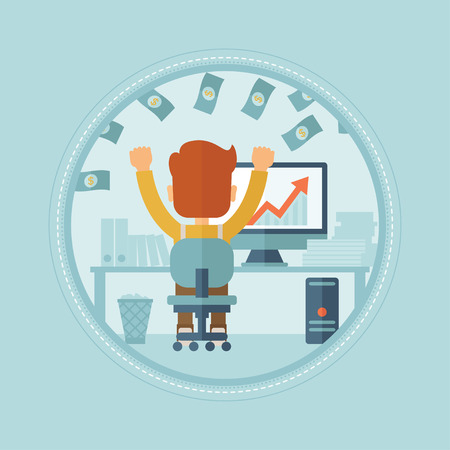 money rain: Successful businessman with raised hands sitting in front of computer monitor in office under money rain. Business success concept. Vector flat design illustration in the circle isolated on background
