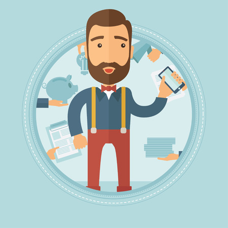 light duty: Stressed busy hipster businessman with the beard surrounded by many hands that give him a lot of work. Concept of hard working. Vector flat design illustration in the circle isolated on background.