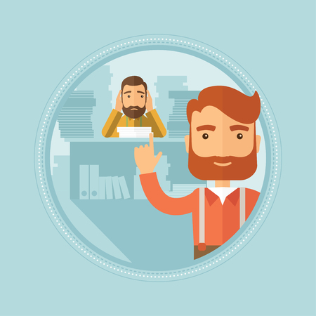 overwork: A hipster businessman with beard pointing forefinger up on the background of employee sitting at workplace with lots of documents. Vector flat design illustration in the circle isolated on background. Illustration