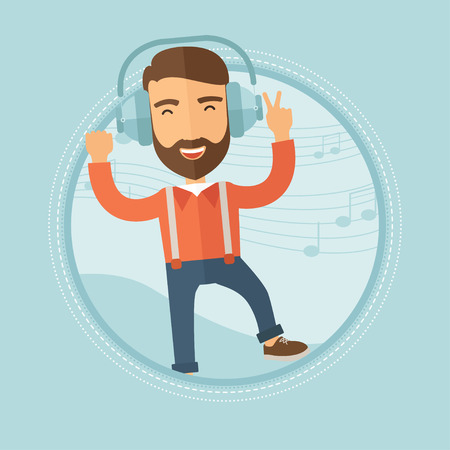 A joyful caucasian hipster man with the beard in headphones dancing and listening to music on a blue background with notes. Vector flat design illustration in the circle isolated on background.