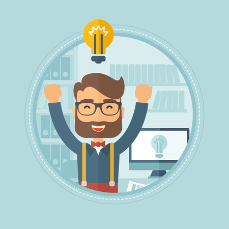 An excited hipster caucasian businessman with the beard standing with raised hands because of having a brilliant business idea. Vector flat design illustration in the circle isolated on background.
