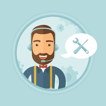 technical assistant: Professional young cheerful hipster operator of technical support wearing headphone set. Customer service and technical support. Vector flat design illustration in the circle isolated on background.