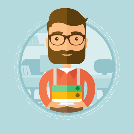 pile of documents: Young smiling hipster office worker standing with pile of folders in the office. Happy employee working in office with documents. Vector flat design illustration in the circle isolated on background.