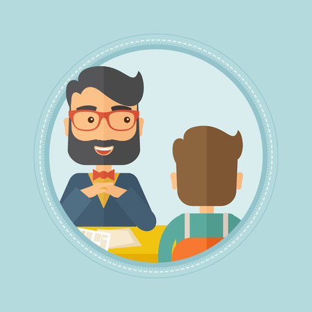 the applicant: A hipster human resource manager talking with job applicant during interview for the vacant position. Employment concept. Vector flat design illustration in the circle isolated on red background. Illustration