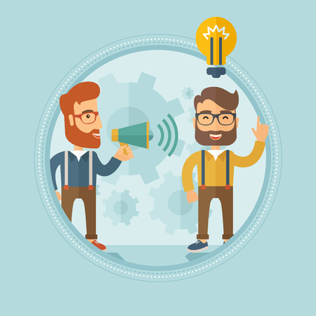 Caucasian hipster businessman with the beard speaking to megaphone and making announcement for business idea. Concept of business idea and announcement. Vector line design illustration. Square layout. Illustration