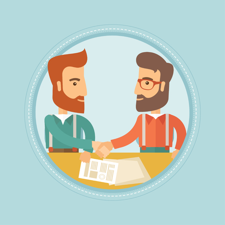 Two young hipster businessmen signing a contract and shaking hands for the successful business deal. Business partnership concept. Vector flat design illustration in the circle isolated on background.