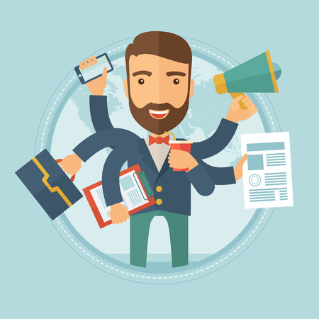 overload: Happy hipster caucasian businessman with many hands holding papers, briefcase, mobile phone. Multitasking and productivity concept. Vector flat design illustration in the circle isolated on background Illustration