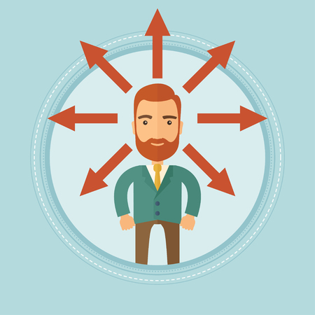 A hipster man with many arrows in different directions around his head. Man choosing career way or solution of a business problem. Vector flat design illustration in the circle isolated on background.