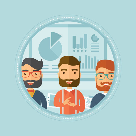 Group of happy hipster caucasian business people applauding after presentation in office on the background of board with graphs. Vector flat design illustration in the circle isolated on background.
