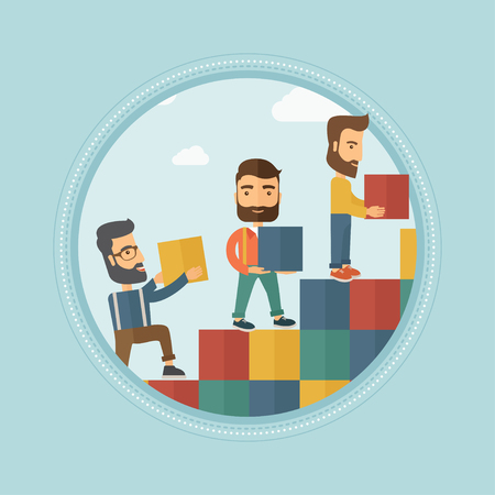 Group of young caucasian hipster business people building stairs to success or career ladder. Business career, partnership concept. Vector flat design illustration in the circle isolated on background Illustration