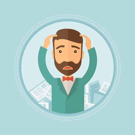 Depressed caucasian hipster businessman with beard sitting in heap of papers. Frustrated businessman having a lot of paperwork. Vector flat design illustration in the circle isolated on background. Illustration