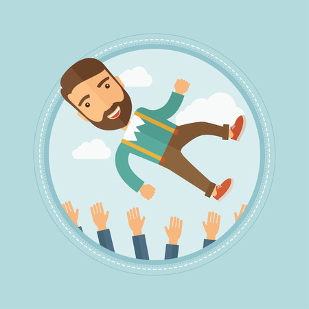 Successful young caucasian hipster businessman with the beard get thrown into the air by his coworkers during celebration. Vector flat design illustration in the circle isolated on background.
