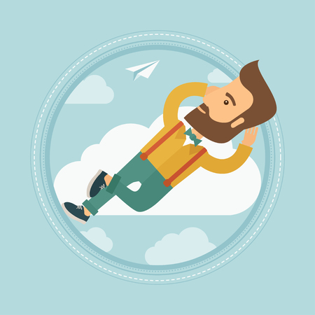 flying paper: Young caucasian hipster businessman with beard lying on a cloud and looking at flying paper plane. Business man relaxing on cloud. Vector flat design illustration in the circle isolated on background.